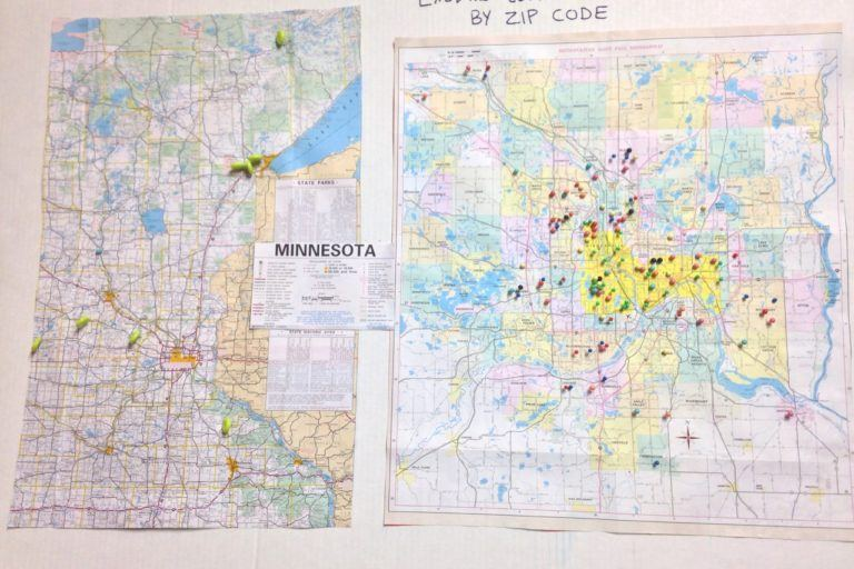 "map of minnesota and twin cities titled ""Exodus Lending Clients by zip code."" Most pins are in the Twin Cities."