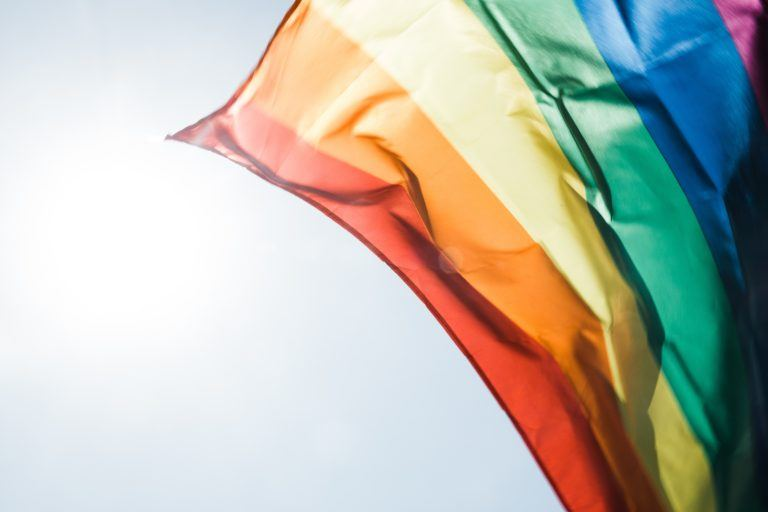 Photograph of a rainbow flag waving in the sun.