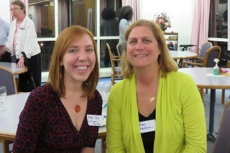 Photograph of Katie and a donor at a reception.