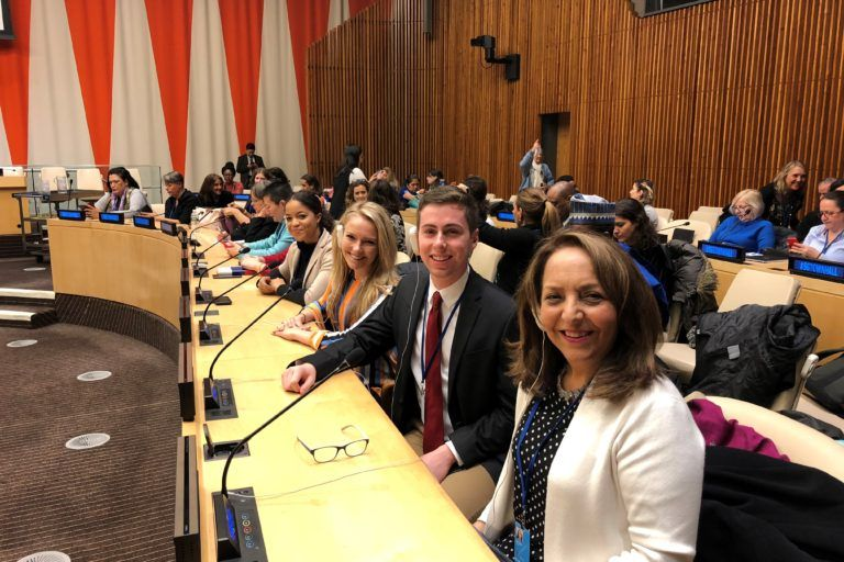 Beth Dehghen, Executive Director of WomenNC and other participants at the UN.