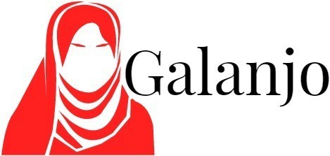 Galanjo logo: Outline of a woman in a head scarf in red.