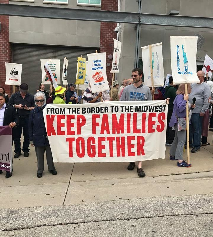 """Milwaukee New Sanctuary Movement with """"Keep Families Together"""" sign"""
