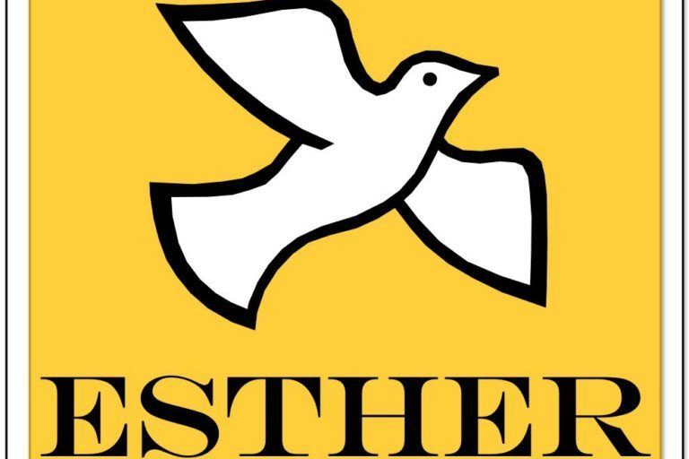 White bird on yellow background for ESTHER logo