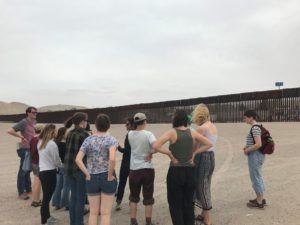 Laura and study away group at US/Mexico border in El Paso area